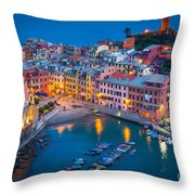 Night In Vernazza Throw Pillow by Inge Johnsson