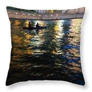 Night Kayak Ride Throw Pillow by Margie Hurwich