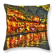 Night Life By The River Walk Throw Pillow