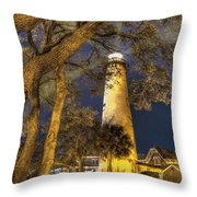 Night Lighthouse Throw Pillow by Debra and Dave Vanderlaan