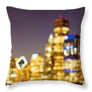 Night Lights - Abstract Chicago Skyline Throw Pillow