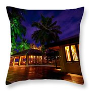 Night Lights At The Resort Throw Pillow by Jenny Rainbow