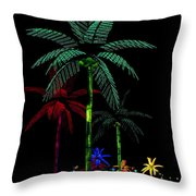 Night Lights Electric Palm Trees Throw Pillow