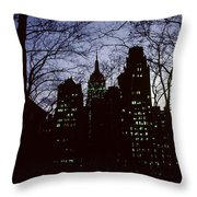 Night Lights Empire State Two Trees Throw Pillow