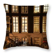 Night Lights In Amsterdam. Holland Throw Pillow