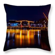 Night Lights On The Amsterdam Canals 1. Holland Throw Pillow