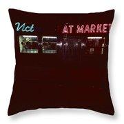 Night Lights Vict At Market Throw Pillow
