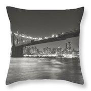 Night - New York City - Brooklyn Bridge Throw Pillow