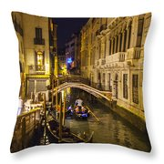 Night On The Canal - Venice - Italy Throw Pillow