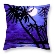 Night On The Islands Painterly Brushstrokes Throw Pillow