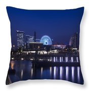 Night Scene In Blue Of Minatomirai In Yokohama Throw Pillow