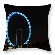 Night Shot Of The Singapore Flyer Ferris Wheel At Marina Bay Throw Pillow