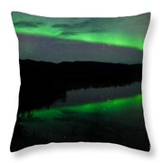 Night Sky Stars Clouds Northern Lights Mirrored Throw Pillow