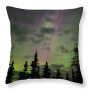 Night Sky With Northern Lights Display Throw Pillow