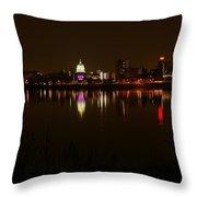 Night Skyline Harrisburg Pa Pink Lights Throw Pillow