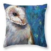 Night Snow Owl Throw Pillow