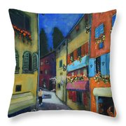 Night Street In Pula Throw Pillow