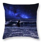 Night Surfing Throw Pillow