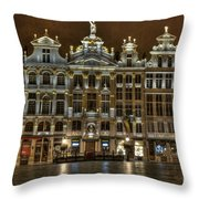 Night Time In Grand Place Throw Pillow
