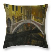 Night Time In Venice Throw Pillow