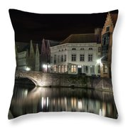Night Time On The Canal Throw Pillow