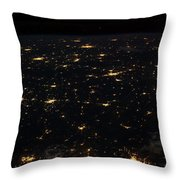 Night Time Satellite Image Of Cities Throw Pillow