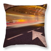 Night Traffic Light Trails In Warsaw Throw Pillow