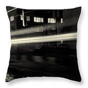 Night Train Black And White Throw Pillow