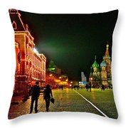 Night View Of Gum And Saint Basil Cathedral In Red Square In Moscow-russia Throw Pillow