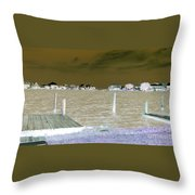 Night View Of Lafitte Bay Dauphin Island Alabama Throw Pillow