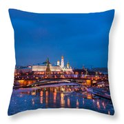 Night View Of Moscow Kremlin In Wintertime - Featured 3 Throw Pillow