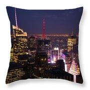 Night View Of New York Throw Pillow