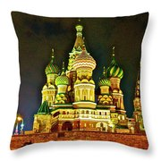 Night View Of Saint Basil Cathedral In Red Square In Moscow-russia Throw Pillow