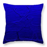 Night View With Deers Digital Painting Throw Pillow