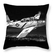 Night Vision Beechcraft T-34 Mentor Military Training Airplane Throw Pillow