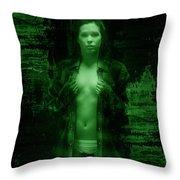 Night Vision Woman Throw Pillow