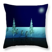 Night Walk Of The Penguins 2.5 Throw Pillow