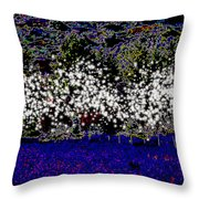 Night With Almond Flowers Throw Pillow