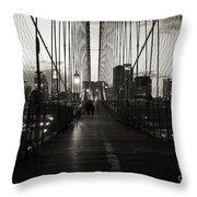 Nightfall On The Brooklyn Bridge Throw Pillow