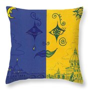 Nightime And Daytime In Venice Throw Pillow