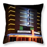 Nightime Shot Of Kilgore Crim Theater Throw Pillow