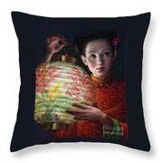 Nightingale Girl Throw Pillow by Jane Bucci