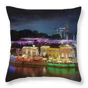 Nightlife At Clarke Quay Singapore Aerial Throw Pillow