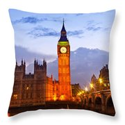 Nightly View London Houses Of Parliament Throw Pillow