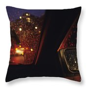 Nighttime Driving With City Lights Throw Pillow