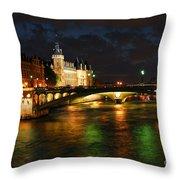 Nighttime Paris Throw Pillow