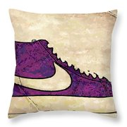 Nike Blazers Purple Throw Pillow by Alfie Borg