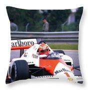 Niki Lauda. 1985 Portuguese Grand Prix Throw Pillow