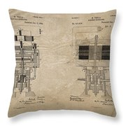 Nikola Tesla's Electrical Generator Patent 1894 Throw Pillow