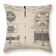 Nikola Tesla's Magnetic Motor Patent 1888 Throw Pillow